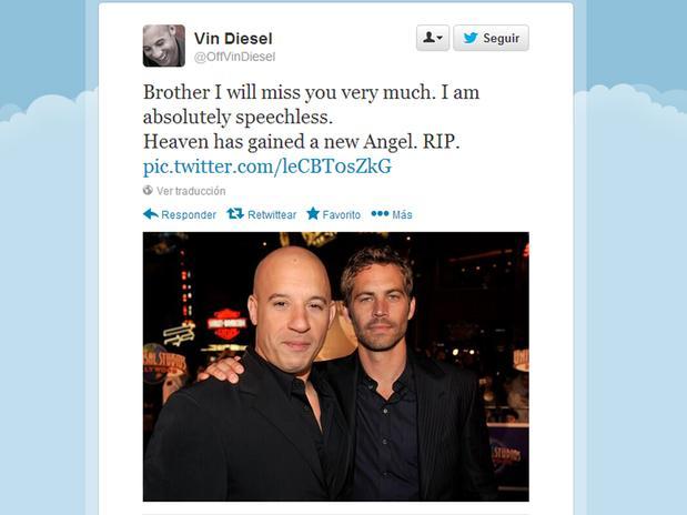 Vin Diesel y amigos dan condolencias por muerte de Paul Walker