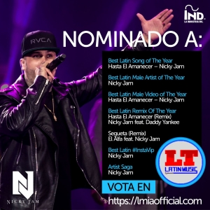 NICKY JAM RECIBE OCHO NOMINACIONES EN LOS LATIN MUSIC ITALIAN AWARDS
